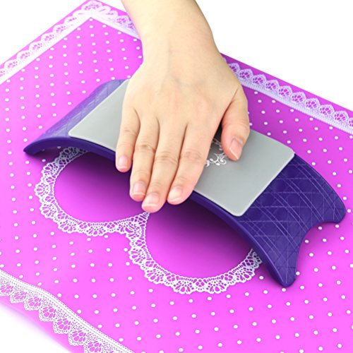 Manicure Table Mat Arm Wrist Hand Rest for Nails Plastic Silicone Desk Mat Nail Art Design Salon Cushion Pillow Holder Purple BlueTop