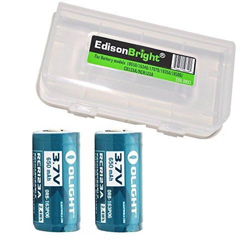 2 Pack Genuine Olight 3.7v RCR123A rechargeable protected li-ion type 16340 batteries with BBX3 battery carry case