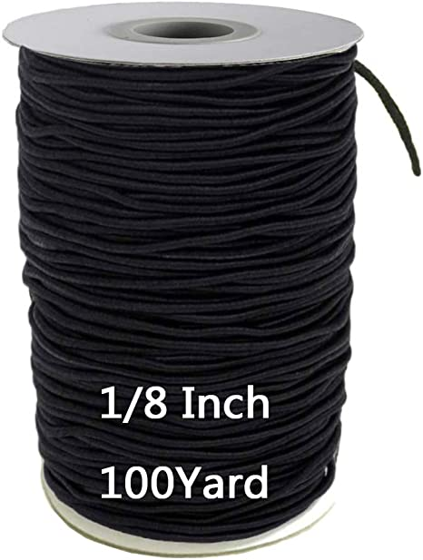 Elastic Cord for Masks Elastic for Sewing 1//8 inch 3mm 50 Yards Round Elastic Strap Rope String Heavy Stretchy High Elasticity Knit Elastic Band for Sewing DIY Face Mask Elastic Cord