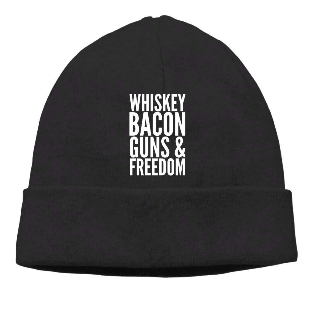 Oopp Jfhg Beanie Knit Hats Skull Caps Whiskey Bacon Guns and Freedom Mens Black