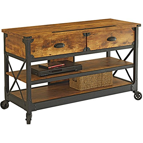 """Sturdy Wooden Rustic Country Antiqued Black/Pine Panel TV Stand for TVs up to 52"""", Elegant Classic Home Entertainment Furniture in Natural Finish and Black Accents (49.134""""W x 21.26""""D x 28.74""""H)"""