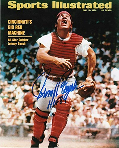 Johnny Bench Autographed Photograph - HOF 89 SPORTS ILLUSTRATED COVER 8x10 - Autographed MLB Photos