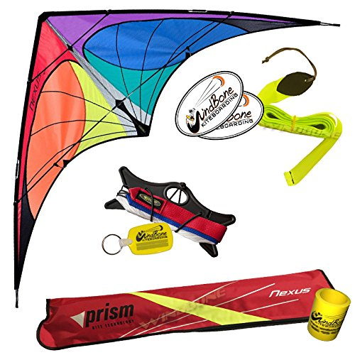 Prism Nexus Dual Line Delta Framed Stunt Kite with 40' Tail Bundle (3 Items) + Prism 40ft Ripstop Streamer Tail Yellow + WindBone Kiteboarding Lifestyle Stickers + Key Fob (Spectrum) by Prism, WindBone (Image #7)