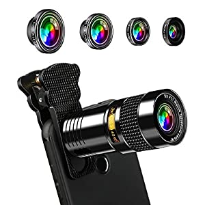 AFAITH 5-in-1 Phone Camera Lens Kit 9X Telephone Lens+180 Degree Fisheye+Super Wide 0.4X+ 0.63X Wide and Macro Lens for iPhone 7 / 7 Plus / 6s / 6 / 5 , Samsung Galaxy S8/ S7 / S7 Edge PA072