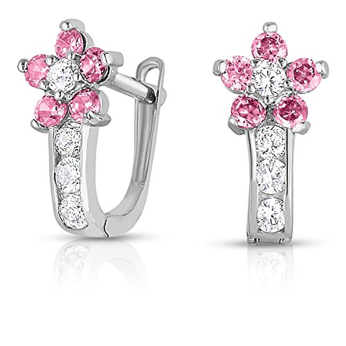 Silver Tourmaline Ring (Girls Sterling Silver Flower Huggie Earrings in CZ with Simulated Tourmaline Births Month)