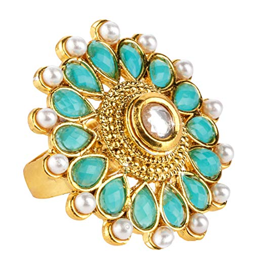 Yellow Chimes Latest Style Turquoise Created-Pearl Studded Classic Gold Plated Cocktail Wedding Rings for Women & Girls