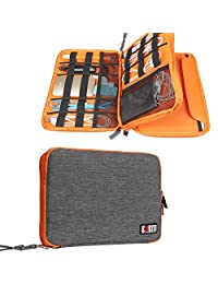 BUBM Universal Travel Cable Organizer Case for USB Power Cords Battery Charger Case Storage Mobile Disk Bag Gear Organizer Padded Electronics Case for iPad Mini (Large, Orange)