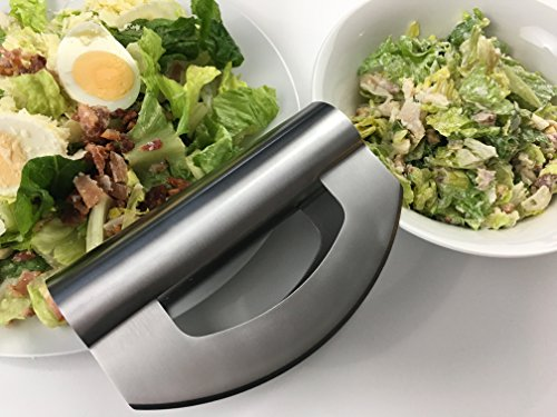 Checkered Chef Mezzaluna Chopper - Double Bladed Stainless Steel Salad Chopper with Blade Covers - Rocker Knife - Mincing Knife - Make the Best Chopped Salads! Dishwasher Safe. by Checkered Chef (Image #4)
