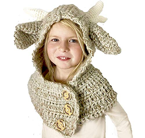 Jennifer + June Toddler Girl and Boy Knitted Crochet Hats with Unique Ears for Kids. (Large Reindeer Scarf Crochet Hat (Size 6T to ()