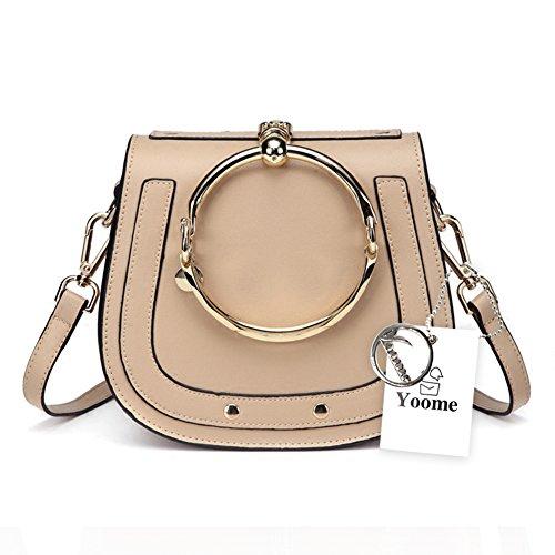 Yoome Elegant Rivets Punk Circular Ring Handle Handbags Messenger Crossbody Bags For Girls - (Saddle Ring)