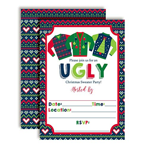 Ugly Sweater Christmas Holiday Party Invitations, 20 5