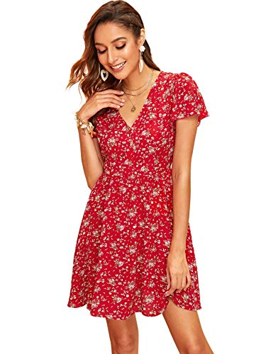 Milumia Women Half Button Front Flutter Sleeve Ditsy Floral Short Dress Red L ()