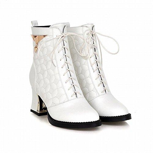 Carolbar Womens Fashion Charms Lace up Cute Sweet Elegance High Heel Short Boots White AiRZhwwI