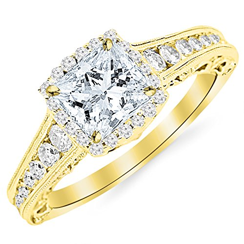 - 1.75 Carat 14K Yellow Gold Vintage Halo Style Channel Set Round Brilliant Diamond Engagement Ring Milgrain with a 1 Carat Moissanite Center