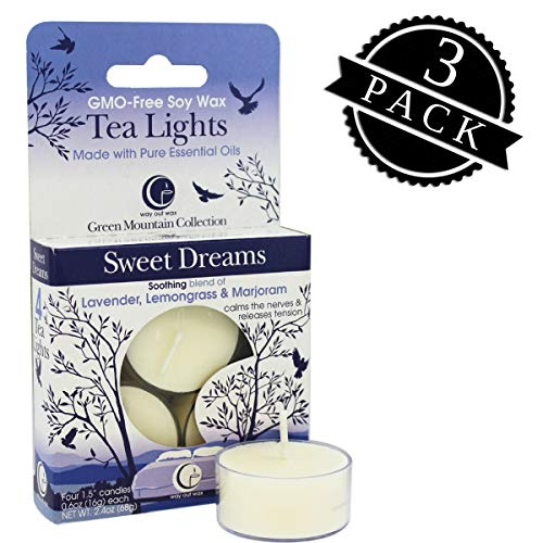 Dreams Candle - Way Out Wax Aromatherapy Scented Candles, Sweet Dreams Fragrance, (12 Tea Lights, 3 Packs of 4 Each); Hand Poured Soy Candles Scented w/ Pure Essential Oils, All-Natural