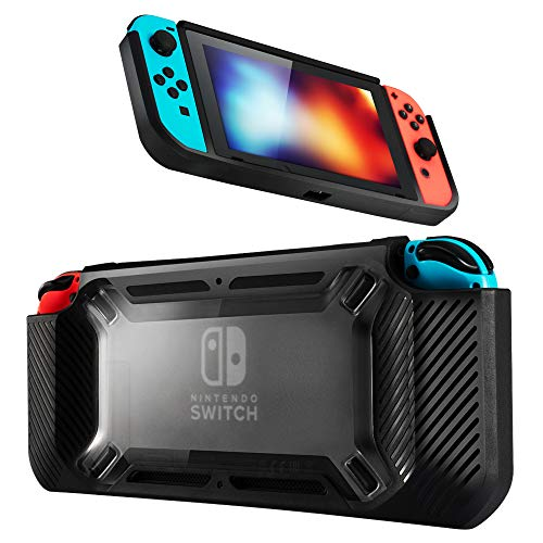 Tasera Case for Nintendo Switch,Protective Hard TPU+PC Back Cover for Nintendo Switch Console,Comfort Handheld Travel Carrying Protection Case for Switch Console & Accessories,Black