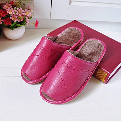 Fankou autunno inverno home il cotone pantofole di rugiada uomini pantofole indoor morbida antiscivolo pavimentazione impermeabile home pantofole e 25 (35-36), la signora in rosso