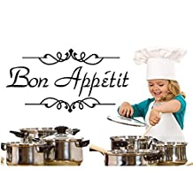 Quote Bon Appetit Wall Stickers Decor DIY Decoration PVC Removable Dinning Room Kitchen Mural