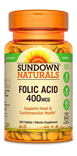 Sundown Naturals Folic Acid 400 Mcg, 350 Count