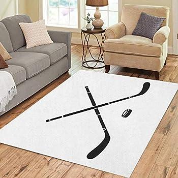 Pinbeam Area Rug Stick Hockey Simple of for Puck Activity Ball Home Decor Floor Rug 5' x 7' Carpet