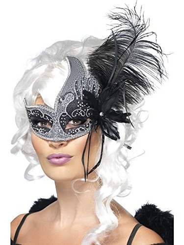 Smiffys Women's Masquerade Eye mask, Silver & Black with Feather, Dark Angel, One size, 27856 ()