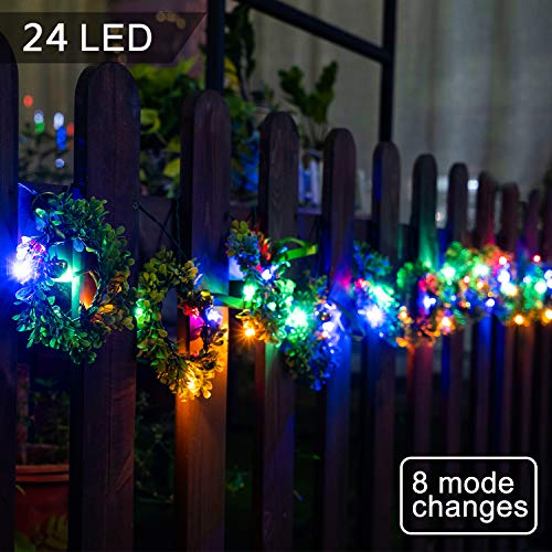 mopha Solar Wreath Decorative Lights Christmas Party Lights 4 Colors and 8 Modes Outdoor LED Lights Wreaths String for Celebrations Dinners Parties Christmas Decorations (Christmas Outdoor Wreaths)