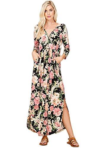 Annabelle Women V-Neckline 3/4 Sleeve Empire Waist Pleated Flower Print Dresses Pink Black Large (3/4 Sleeve Cotton Wrap)