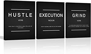 Grind Hustle Execution Entrepreneur Quotes Inspirational Wall Art Canvas Prints Motivational Wall Decor Entrepreneur Quotes Office Posters 3 Panels of for Living Room Bedroom Framed Ready to Hang