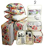 Packing Cubes 8pcs my FL Backpack Organizers Set for Carry on Travel Bag Luggage Cube (Flowers)