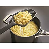 MAZIMARK--Hot Colander Scoop Spoon Cooked Food Strainer Pasta Vegetable Rice Drainer Black