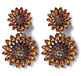 Heidi Daus Floral-Design SWAROVSKI Crystal Drop Earrings Clip ~ Sparkling Sunflower