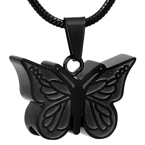 Price comparison product image Black Butterfly Necklace Stainless Steel Pet Memorial Jewelry Engraved