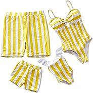IFFEI Family Matching Swimwear One Piece Costume Vintage Stripes V Neck Monokini Bathing Suit Beach Wear