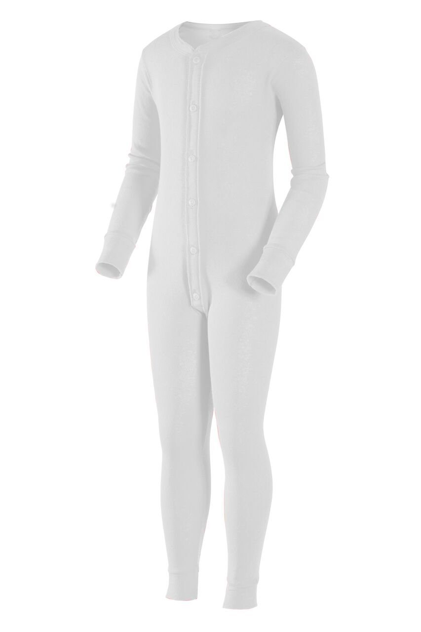 Indera Youth Union Suit Underwear, White, Medium