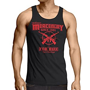 Secret Level Deadpool Inspired-Wade's Mercenary for Hire Tank Top Pay in Chimichangas Black (Large)