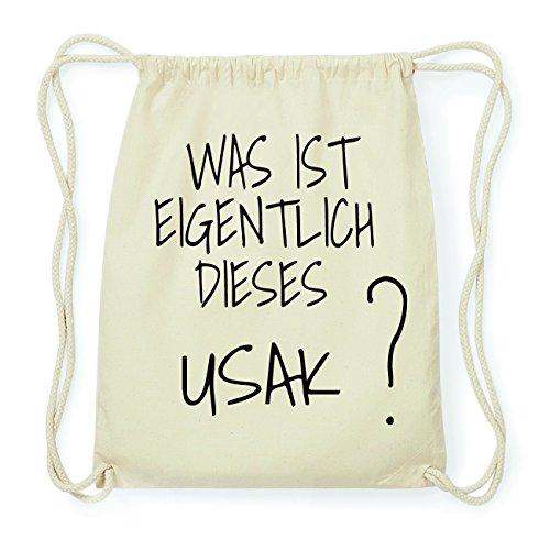 JOllify USAK Hipster Turnbeutel Tasche Rucksack aus Baumwolle - Farbe: natur Design: Was ist eigentlich