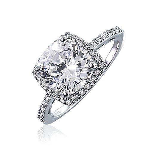 (Bling Jewelry Sterling Silver 2.9 ct Round Brilliant CZ Antique Style Engagement Ring - Size)