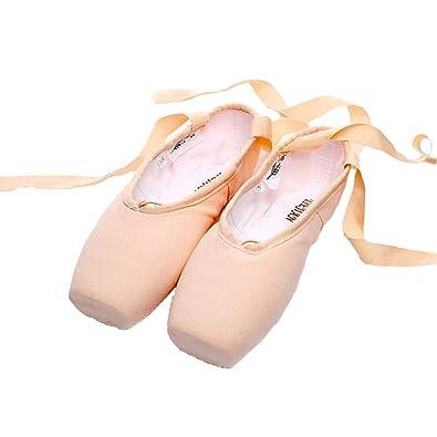cda8f497722e2 JQJPJOSIE Ballet Chaussures Ballerines pour Filles Femmes Satin et Toile  avec Rubans (44