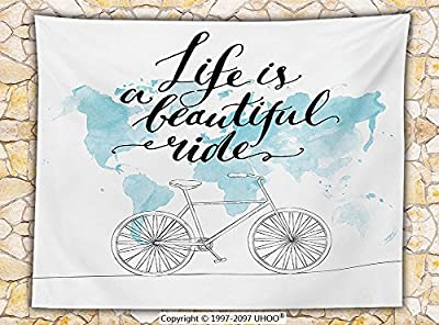 Bicycle Decor Fleece Throw Blanket Inspirational Cycling Picture with World Map Reflection Motivational Sports Illustration Throw Blue White