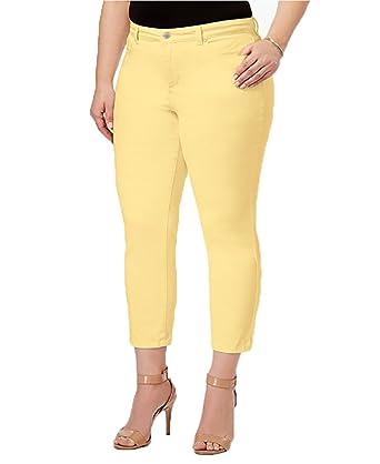 bc8789460ae Charter Club Plus Size Bristol Tummy-Control Capri Jeans in Lemon Yellow at  Amazon Women s Jeans store