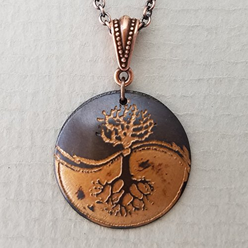 Etched Copper Yin Yang Tree of Life Necklace
