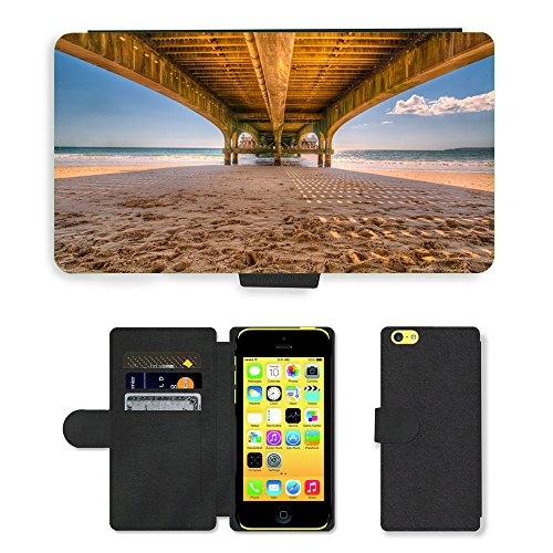 PU Leather Cover Custodia per // M00421729 Pier Jetty plage en bois Pont de sable // Apple iPhone 5C