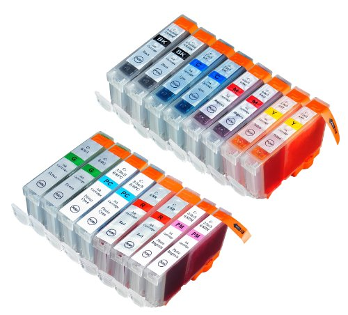 16 Pack Compatible Canon CLI 8 , CLI-8 , CLI8 2 Green, 2 Cyan, 2 Photo Cyan, 2 Photo Magenta, 2 Magenta, 2 Red, 2 Yellow, 2 Small Black for use with Canon PIXMA Pro9000, PIXMA Pro9000 Mark II. PIXMA Pro 9000, PIXMA Pro 9000 Mark II. Ink Cartridges for ink