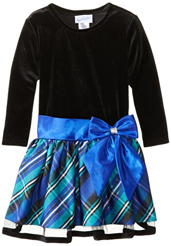 Jayne Copeland Little Girls' Toddler Velvet Plaid Drop Waist, Blue, 2T