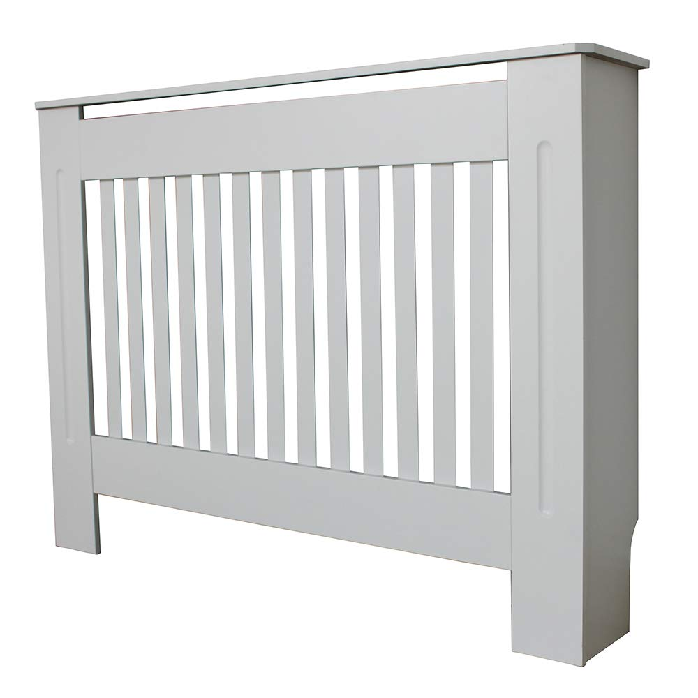 fancycatog Radiator Cover Cabinet Painted Vertical Modern Design Slatted White MDF Home Furniture -Various Sizes(XS S M L) (Medium)