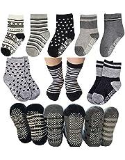 6 Pairs Toddler Socks Baby Girls Non Skid Crew Dress Socks with Grips Infant Anit Slip Kids Little Girls Cotton Socks(12-24 Months)