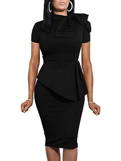 ac4b6ee58db LAGSHIAN Women Fashion Peplum Bodycon Short Sleeve Bow Club Ruffle Pencil  Office Party Dress
