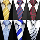 Set of 6 w3dayup mens Classic Tie Lot Necktie Woven Jacquard Pack Neck Ties For Men 6pt007
