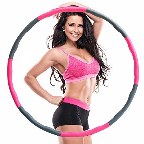 Weighted Hula Hoop -2lbs -Suitable for beginners-Heavy Fitness Hoop - Weight Loss Workout Equipment - the Funnest Way to Lose Weight - Fat Burning (Pink and gray)