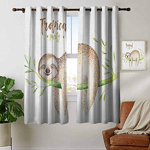 (Decor Curtains by Sloth,Young Animal Sleeping on Palm Branch Happy Dreams Wildlife Nature Watercolor, Pale Brown Green,Wide Blackout Curtains, Keep Warm Draperies,1 Pair 42
